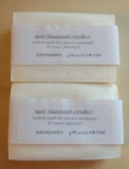2 Unscented Handmade Soap Bars Coconut Oil Simple All Natura