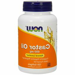 Now Foods CASTOR OIL + Fennel Natural Laxative 650 mg, 120 S
