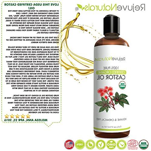 Castor Oil USDA Organic, Pressed, Hexane Free by RejuveNaturals. Boost Growth for Eyelashes, Hair. Dry Moisturizer Women Men