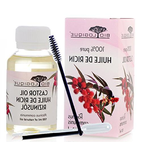 Castor Oil 100% Pure Oil - Hair, and Strengthens Nails, Remedy for Skin - Treatment Applicator Kit oz/100 ml