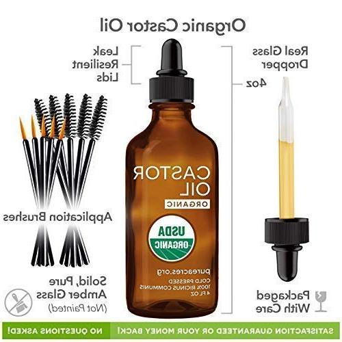 Castor Oil - Certified Organic Pure, ounce, Extra-Virgin, For & - Growth - Applicator