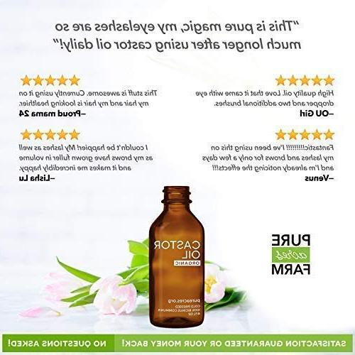 Castor Oil - Certified - 100% Pure, Cold-Pressed, For Eyelash, Hair, Growth - Applicator
