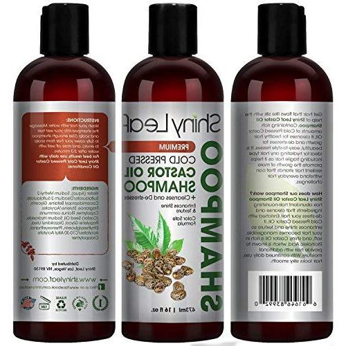 Shiny Leaf Castor Oil Premium Growth with Cold Oil, All Types, Hair Silky Soft and Smooth, oz.