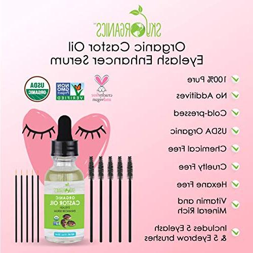 Organic Castor Oil Sky Pure, Hexane-Free - Growth, Eyelashes eyebrows growth- Caster Oil Lash Enhancer Mascara Brushes