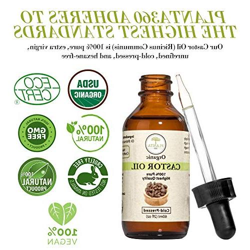 Organic Oil For Hair Growth 100% USDA Cold Hexane Free - for Soft Nails, Growth - Mascara Kit