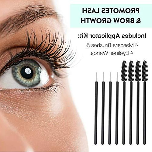Organic Castor for Hair, Lash and Brow Growth - USDA Certified - 100% Pure, Cold-Pressed, Hexane-Free. Nail Treatment. Serum Eyelashes Mascara Kit