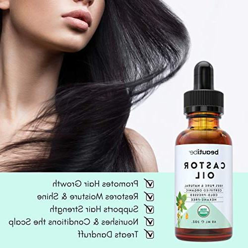 Organic Oil Hair, Growth - - 100% Pure, Hexane-Free. Scalp Nail Eyelashes & Mascara | BeautiBe