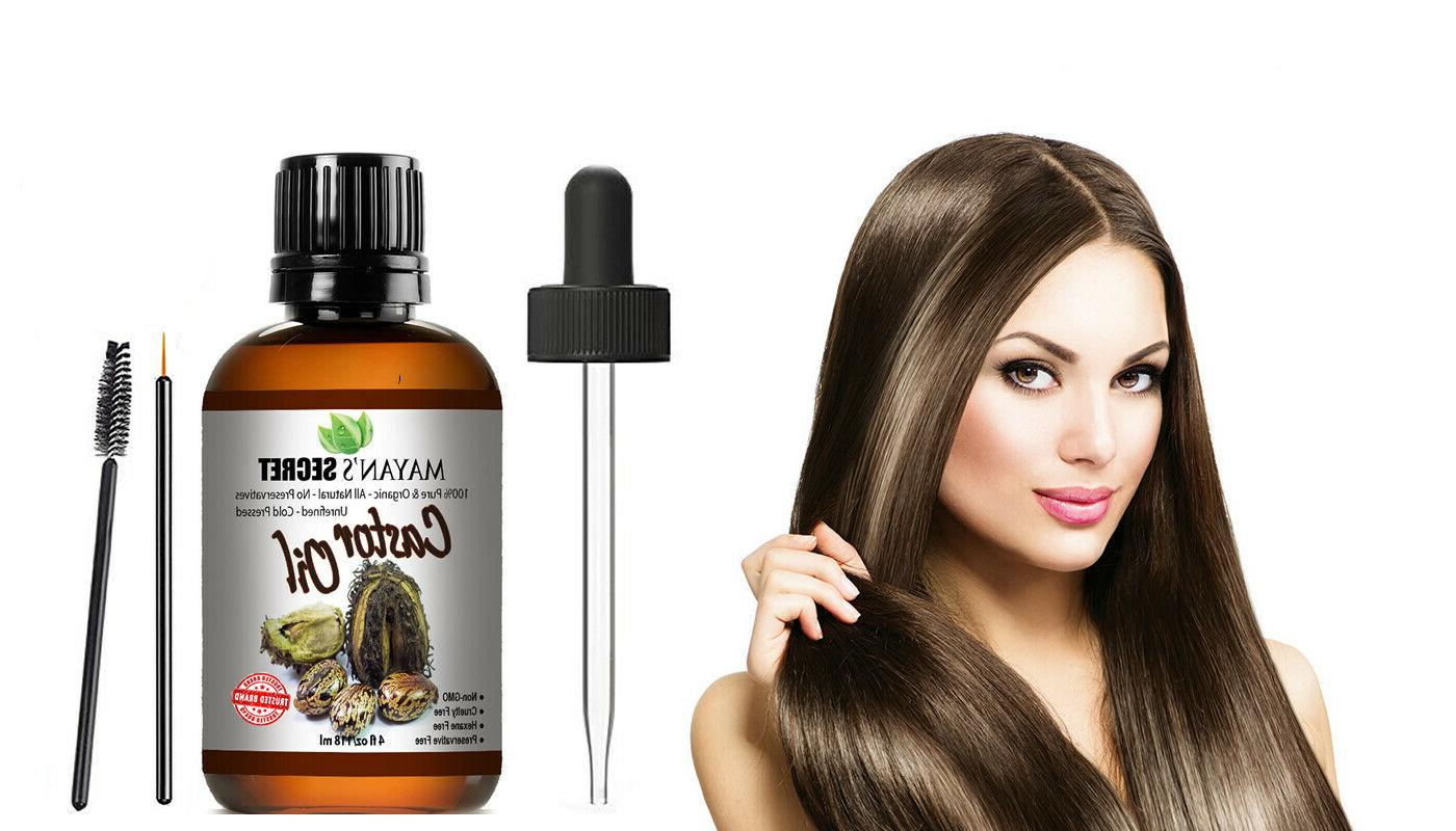 100% USDA Oil for Eyelashes, Eyebrows,Hair Growth,Skin 4oz
