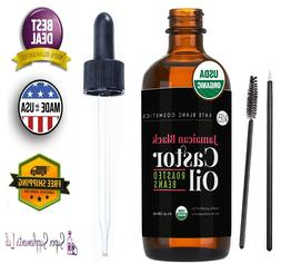 ORGANIC CASTOR OIL for EYELASHES 4oz Pure Eyebrows Hair Grow