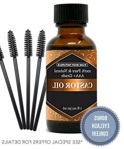 Organic Castor Oil for Eyelashes and Eyebrows with Applicato