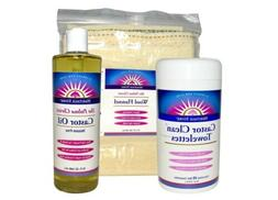 Castor Oil Pack Kit, 3 Piece Kit (oil, Castor Clean Towelett